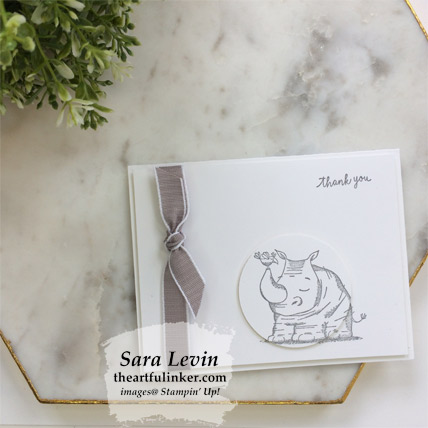 Animal Outing simple stamping thank you card - from theartfulinker.com
