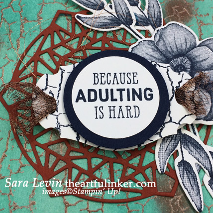 Crackle Paint with More Than Words avid card, sentiment detail - from theartfulinker.com