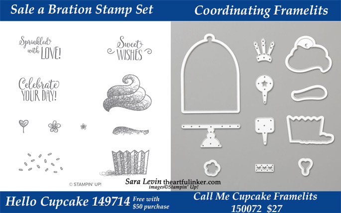 Hello Cupcake stamp set with coordinating Call Me Cupcake Framelits.  Available during March 2019 while supplies last from theartfulinker.com