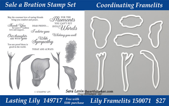 Lasting Lily stamp set with coordinating Lily Framelits available during March 2019 while supplies last from theartfulinker.com