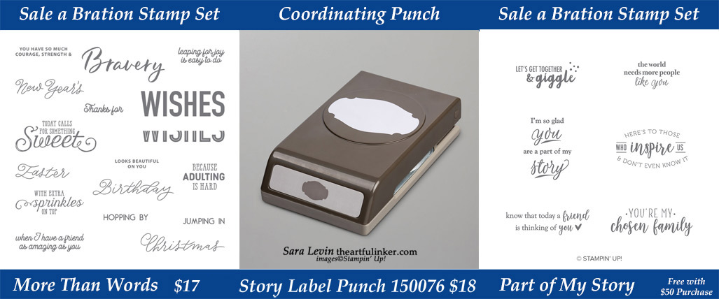 Get the More Than Words Stamp Set and Story Label Punch during March 2019 while supplies last from theartfulinker.com