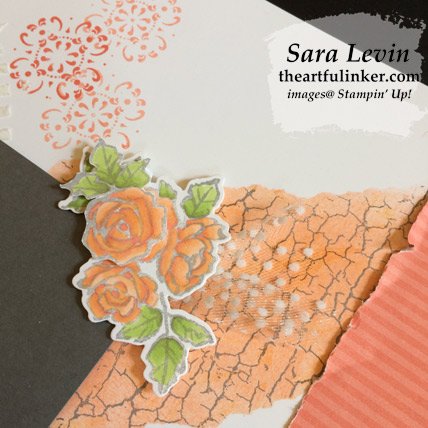 Petal Palette All Adorned mixed media scrapbook page, crackle paint detail - from theartfulinker.com