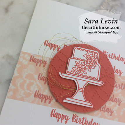 Piece of Cake clean and simple birthday card 3, embossing detail - from theartfulinker.com