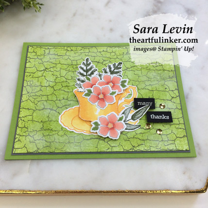 Tea Together with Crackle Paint card, angled view - from theartfulinker.com