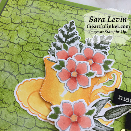 Tea Together with Crackle Paint card, tea cup and flowers detail - from theartfulinker.com