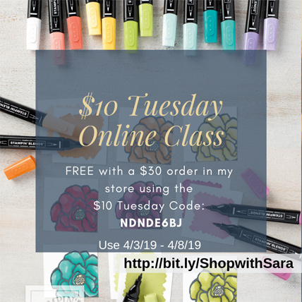 $10 Tuesday with Pop of Petals online card making class - from theartfulinker.com