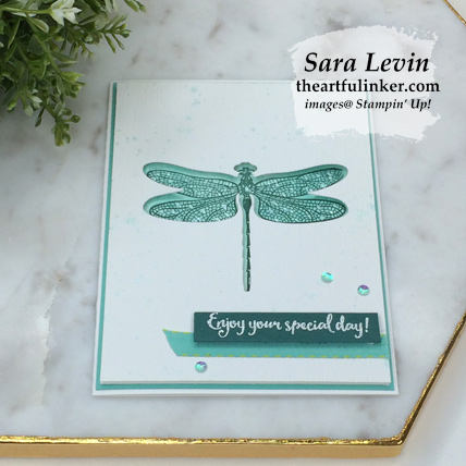 Dragonfly Dreams negative space card, angled view - from theartfulinker.com