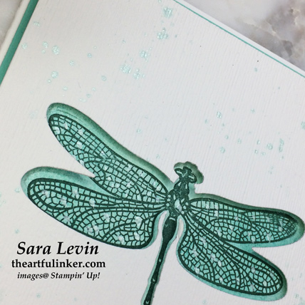 Dragonfly Dreams negative space card, dragonfly detail - from theartfulinker.com