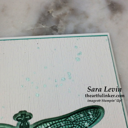Dragonfly Dreams negative space card, embossing and splatter detail - from theartfulinker.com