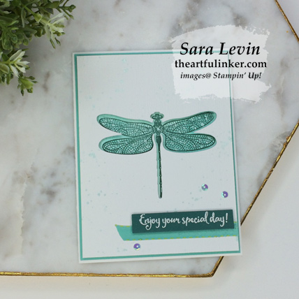 Dragonfly Dreams negative space card from theartfulinker.com
