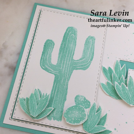 Flowering Desert avid card in Coastal Cabana, layered cactus detail - from theartfulinker.com