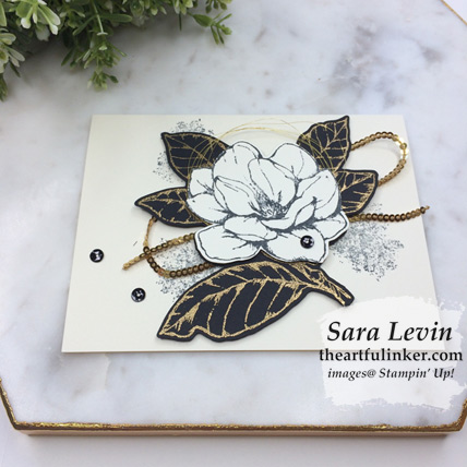 Learn how to make this Good Morning Magnolia card for Stamping Sunday, angled view, and shop for the supplies from theartfulinker.com