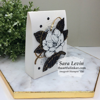 Learn how to make this Good Morning Magnolia gift box for Stamping Sunday, side view, and shop for the supplies from theartfulinker.com