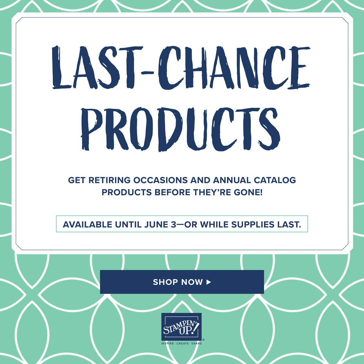 Get the Retiring Products before they are gone! https://www.stampinup.com/ecweb/category/100600/last-chance-products?dbwsdemoid=2059166