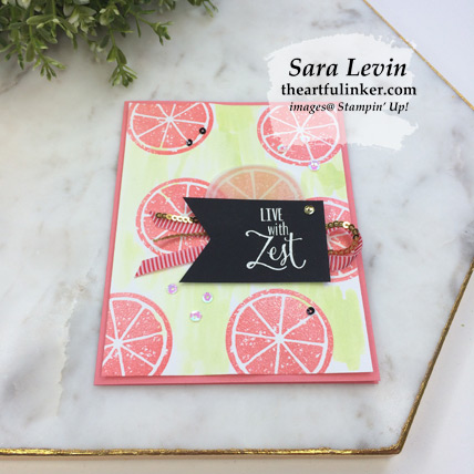 Lemon Zest farewell card, angled view - from theartfulinker.com
