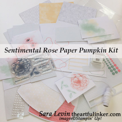 Sentimental Rose Paper Pumpkin Kit, April 2019 kit contents from theartfulinker.com