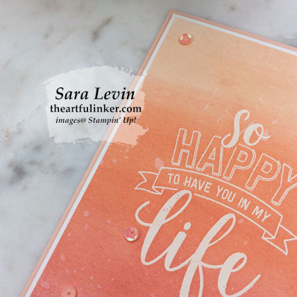 Amazing Life ombre card in coral - detail. Shop for Stampin' Up! products at theartfulinker.com
