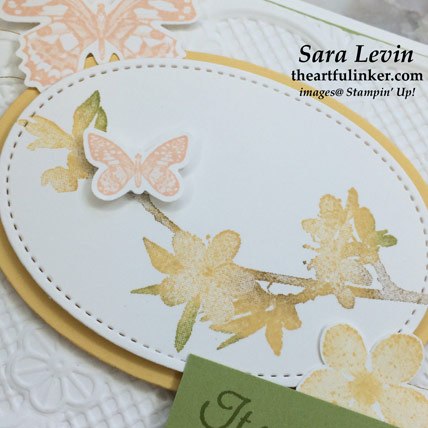 Butterfly Wishes Sneak Peek card, flower detail. Shop for Stampin' Up! products at theartfulinker.com