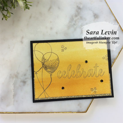 Calligraphy Essentials avid stamping card with Balloon Celebration. Shop for Stampin' Up! products at theartfulinker.com