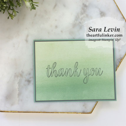 Calligraphy Essentials simple stamping layered thank you card. Shop for Stampin' Up! products at theartfulinker.com