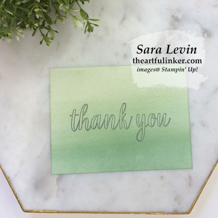 Calligraphy Essentials simple stamping no layer thank you card. Shop for Stampin' Up! products at theartfulinker.com