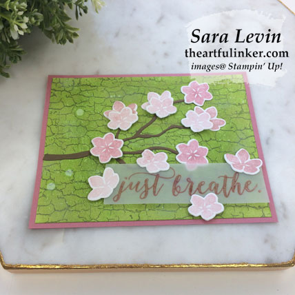 Learn how to make this Colorful Seasons with Crackle Paint card, angled view. Shop for Stampin' Up! products at theartfulinker.com