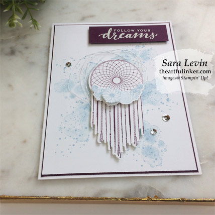 Learn how to make this Follow Your Dreams graduation card, angled view. Shop for Stampin' Up! products at theartfulinker.com