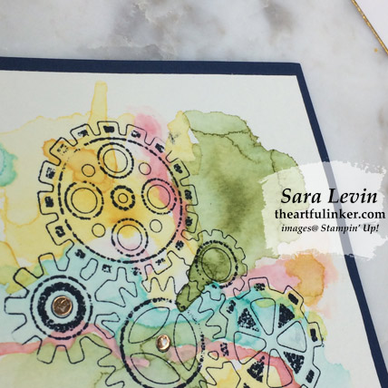 Learn how to make this Geared Up Garage birthday card. Watercolor background detail view. Shop for Stampin' Up! products at theartfulinker.com