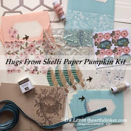 Hugs From Shelli Paper Pumpkin Kit contents. Purchase Paper Pumpkin at theartfulinker.com