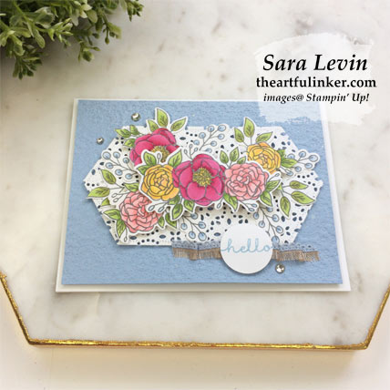 Bloom and Grow for TGIFC217 card with FREE tutorial download, angled view. Shop for Stampin Up products at theartfulinker.com