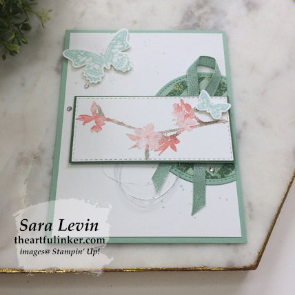 Butterfly Wishes with Garden Lane card, angled view. Shop for Stampin Up products at theartfulinker.com