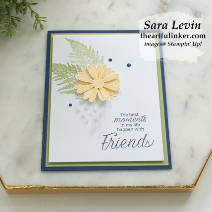 Learn how to make this Daisy Lane clean and simple card, angled view, with a FREE tutorial download. Shop for Stampin Up products at theartfulinker.com