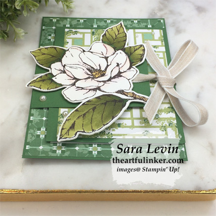 Good Morning Magnolia Flap Fold card, angled view. Shop for Stampin Up products at theartfulinker.com