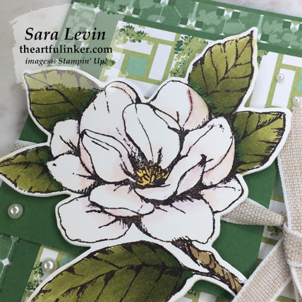 Good Morning Magnolia Flap Fold card, magnolia bloom detail. Shop for Stampin Up products at theartfulinker.com