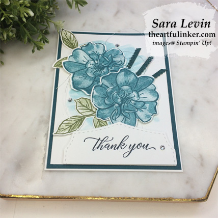 Learn how to make this In Color To a Wild Rose avid stamping card, angled view, with a FREE tutorial download. Shop for Stampin Up products at theartfulinker.com