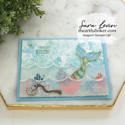 Magical Mermaid with Seasonal Layers card, angled view. Shop for Stampin Up products at theartfulinker.com