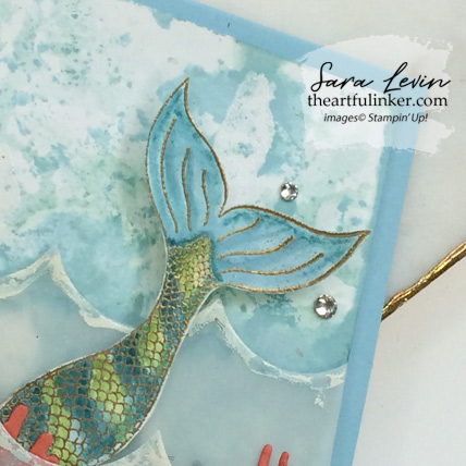 Magical Mermaid with Seasonal Layers card, mermaid tail detail. Shop for Stampin Up products at theartfulinker.com