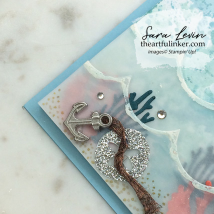 Magical Mermaid with Seasonal Layers card, ocean floor detail. Shop for Stampin Up products at theartfulinker.com