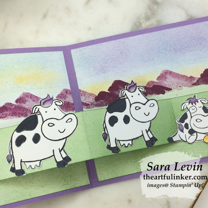 Over the Moon Birthday Card Z Fold, cow detail. Shop for Stampin Up products at theartfulinker.com