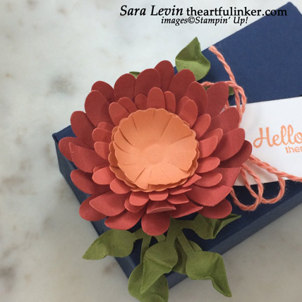 Perfect Parcel Box with Daisy, 3d flower detail. Shop for Stampin Up products at theartfulinker.com