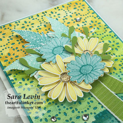 Stamping Sunday Blog Hop Daisy Lane Pigment Sprinkles card, bouquet detail. Shop for Stampin Up products at theartfulinker.com