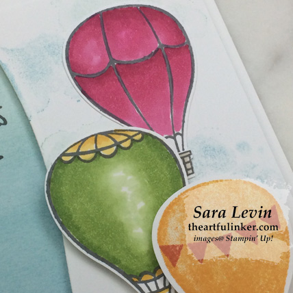 Vibrant Above the Clouds card, hot air balloon detail . Shop for Stampin Up products at theartfulinker.com