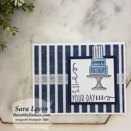 Around the Corner Piece of Cake Masculine Birthday Card, layered. Shop for stampin Up products at theartfulinker.com
