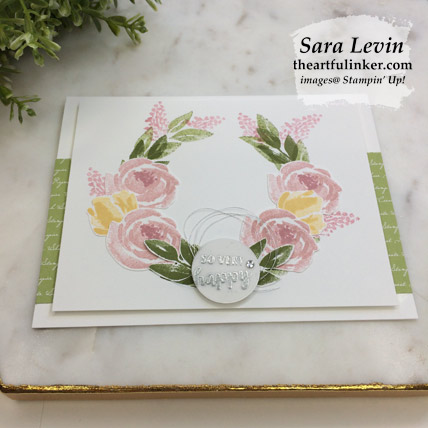 Beautiful Friendship Wreath Card with FREE tutorial, angled view. Shop for Stampin Up products at theartfulinker.com