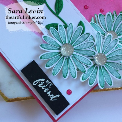 Daisy Lane with Inked Background card, sentiment detail. Shop for Stampin Up products at theartfulinker.com