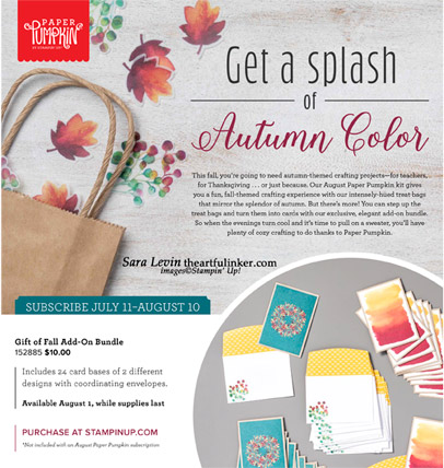 Gift of Fall August 2019 Paper Pumpkin Add On Bundle. Shop for Stampin Up products at theartfulinker.com