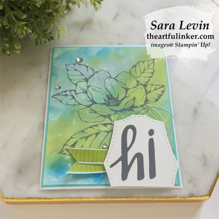 Learn how to make this Good Morning Magnolia Faux Oxide Ink Background card with a video and FREE tutorial. Shop for Stampin Up products at theartfulinker.com
