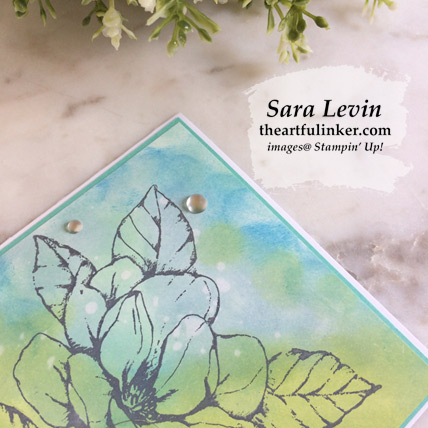Learn how to make this Good Morning Magnolia Faux Oxide Ink Background card with a video and FREE tutorial, background detail. Shop for Stampin Up products at theartfulinker.com