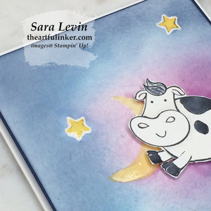Over the Moon reach for the stars card, background detail. Shop for Stampin Up products at theartfulinker.com