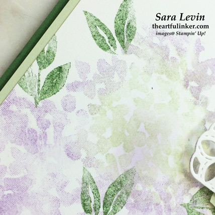 Softly Feminine Beautiful Friendship Hydrangea card with video, detail. Shop for Stampin Up products at theartfulinker.com